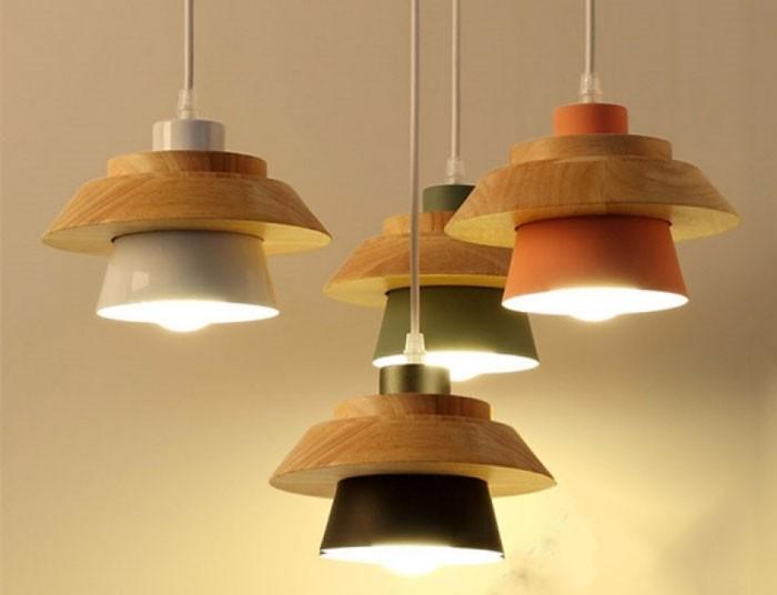 Đèn thả bàn ăn trang trí bằng gỗ- Đèn thả trần