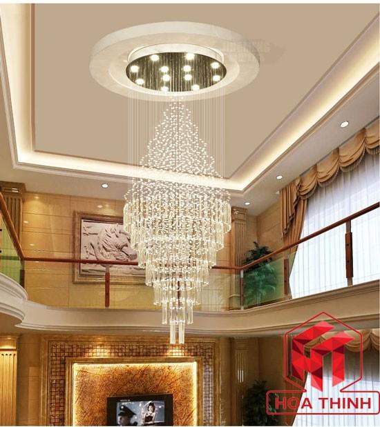 Đèn thả trần thông tầng trang trí phòng khách hiện đại
