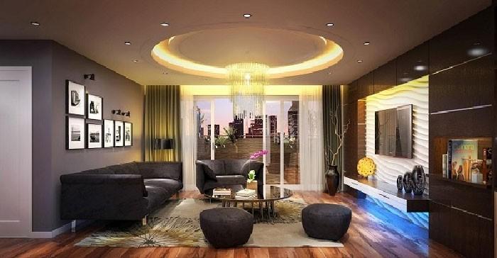 đèn led âm trần thạch cao phòng khách
