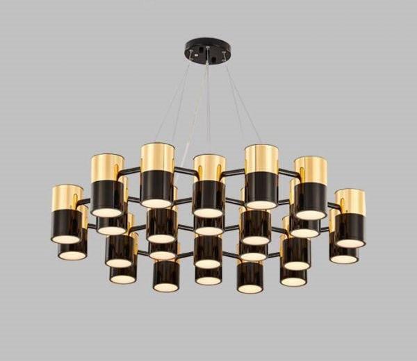 Mẫu đèn chùm phòng khách nhà chung cư hiện đại bằng kim loại- Đèn chùm pha lê