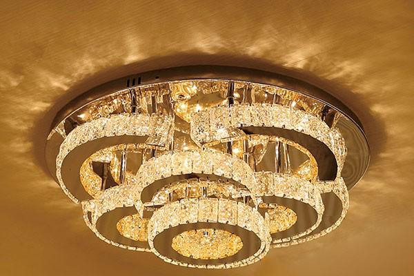 Đèn pha lê chùm phòng khách ốp trần - Đèn ốp trần