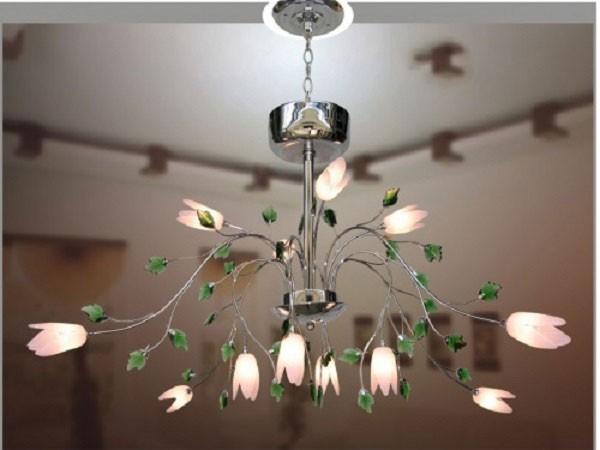 Đèn chùm phòng tiếp khách chung cư inox - Đèn chùm pha lê
