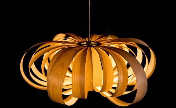 Đèn thả trần gỗ cánh bướm- Đèn gỗ thả trần