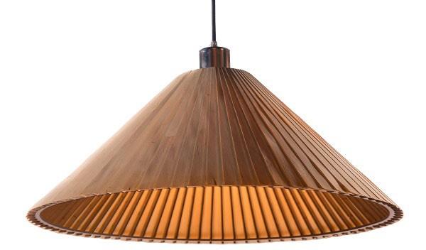 Hình ảnh đèn thả trần bằng gỗ nón lá- Đèn gỗ thả trần