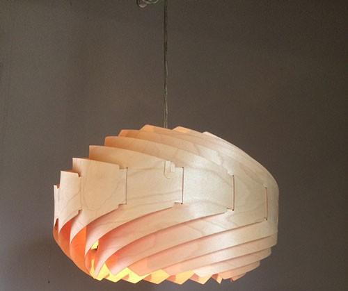Đèn gỗ treo trần sóng nước- Đèn gỗ thả trần