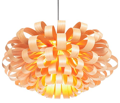 Đèn trang trí trần gỗ hoa hải đường- Đèn gỗ thả trần