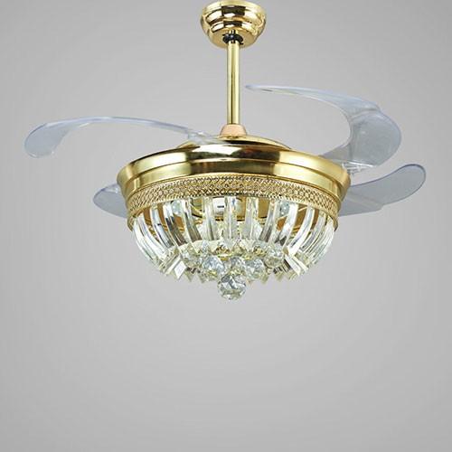Quạt trần đèn cánh gỗ chùm pha lê