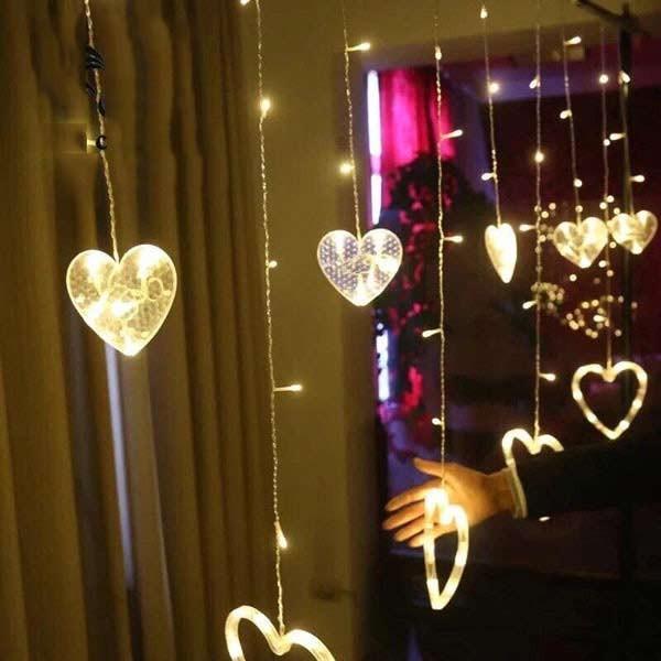Đèn LED nháy thả mành hình trái tim