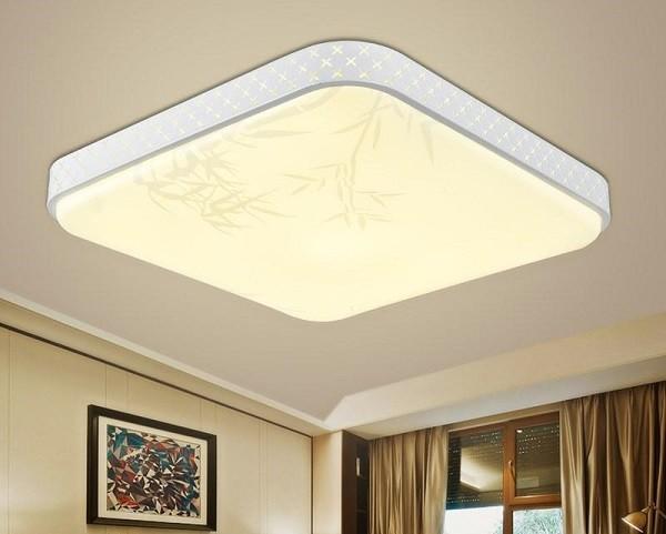 Đèn ốp trần vuông phòng khách hiện đại họa tiết lá tre - Đèn Ốp Trần