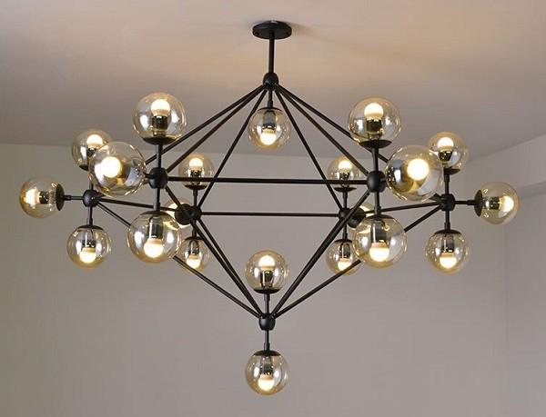 Đèn trần thủy tinh 21 bóng trang trí phòng khách hiện đại- Đèn Thả Trần