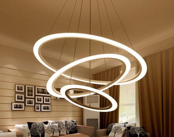 Đèn trần LED phòng khách hiện đại 3 vòng