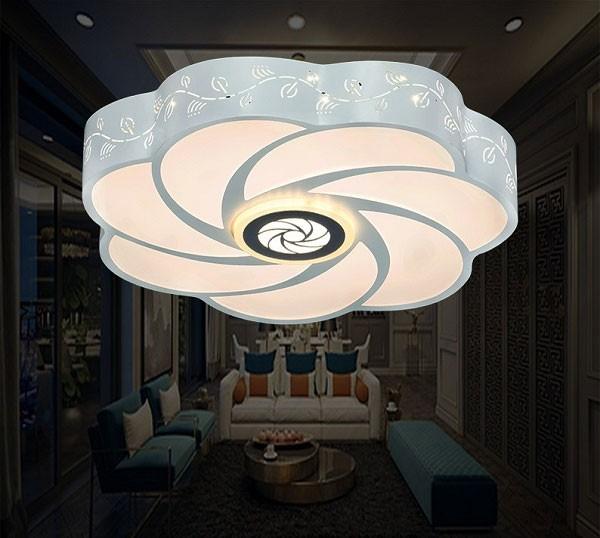 Đèn áp trần hiện đại phòng khách hình bông hoa LED đổi màu- Đèn Ốp Trần