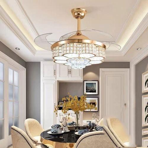 Quạt trần đèn chùm cao cấp trang trí phòng khách