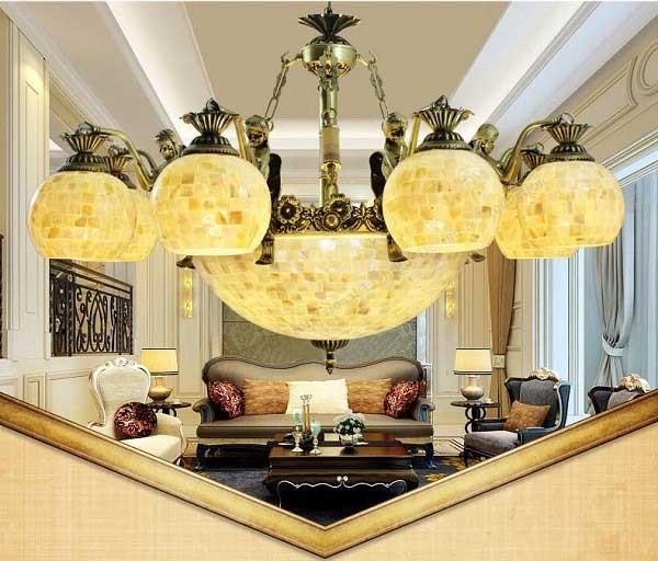Đèn chùm đơn giản vỏ sò phong cách Địa Trung HảiYB214- Đèn chùm đồng