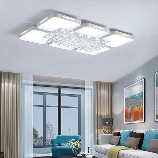 Đèn mâm ốp trần trang trí phòng khách chữ nhật pha lê 02