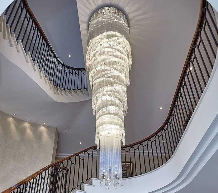 Đèn thả thông tầng cầu thang - Đèn thả thông tầng hiện đại pha lê- Đèn Thả Thông Tầng