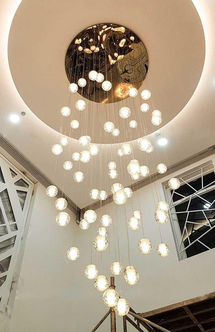 Đèn thả thông tầng hiện đại - Đèn thả thông tầng cầu thang thủy tinh - Đèn Thả Thông Tầng