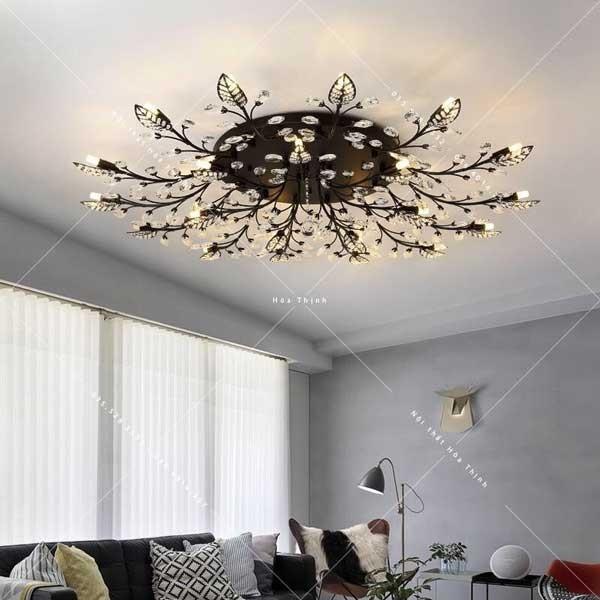 Đèn mâm ốp trần trang trí phòng khách bông tuyết đen