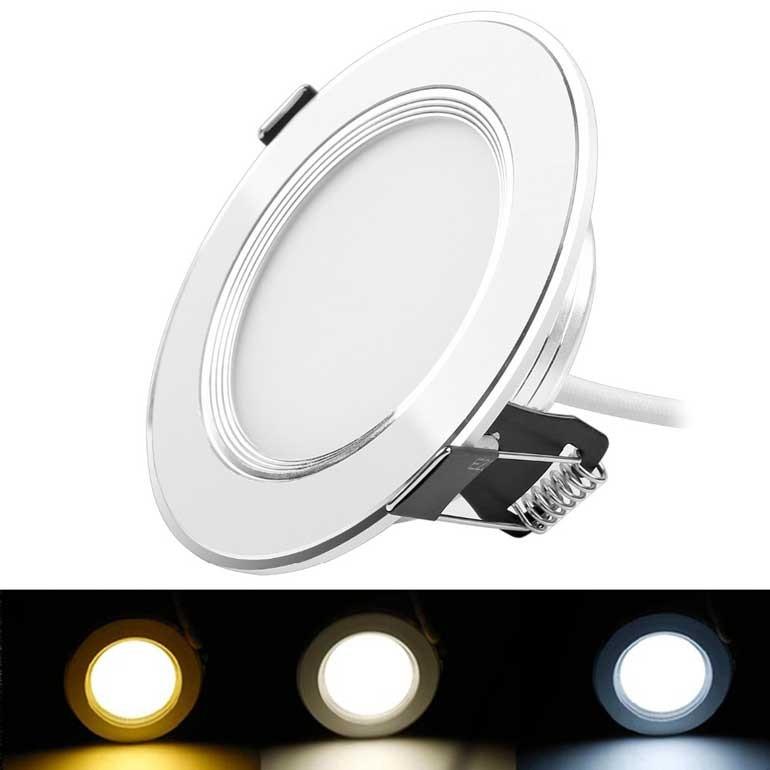 Đèn âm trần LED 3 màu - Đèn LED âm trần 3 màu 7W - Đèn âm trần
