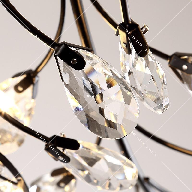 Đèn ốp trần bông tuyết đen D85 HTOP-96