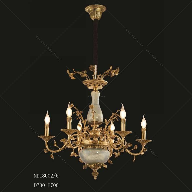 Đèn chùm pha lê đồng nến- Đèn chùm đồng