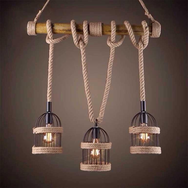 Đèn LED trang trí quán cafe dây thừng