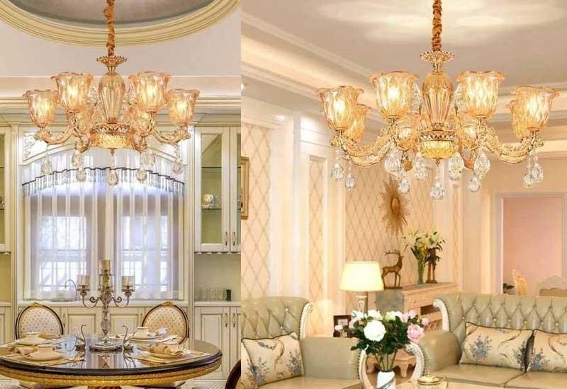 Đèn trang trí phòng khách nhỏ dạng chùm hình hoa ly - Đèn chùm trang trí phòng khách đẹp đơn giản hoa ly