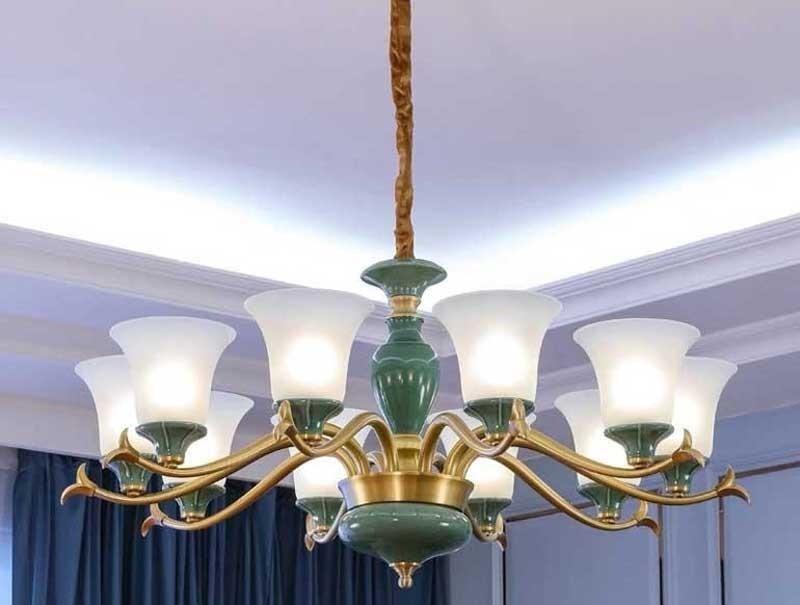 Đèn trang trí chùm phòng khách nhỏ bằng gốm xanh - Đèn chùm trang trí phòng khách gốm sứ xanh trang trí phòng khách nhỏ