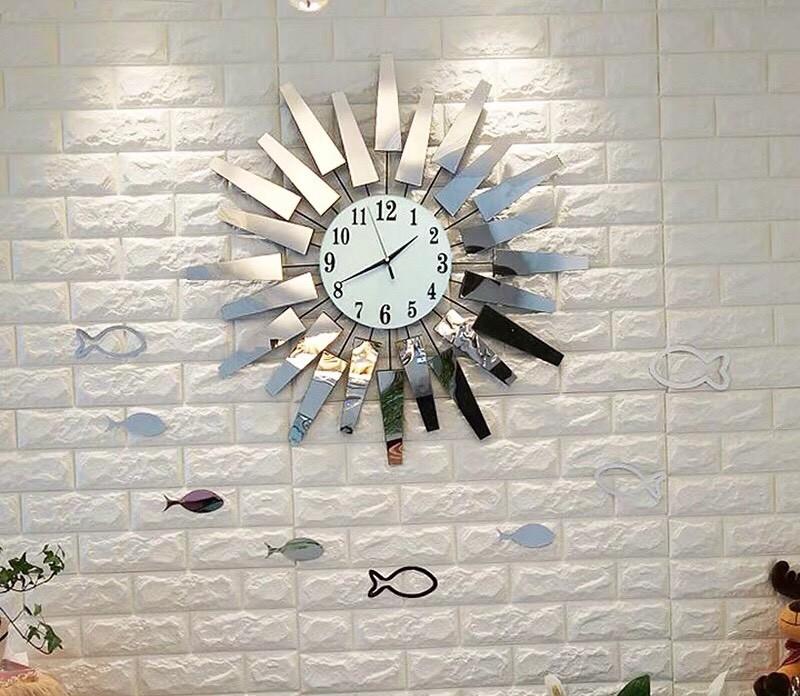 đồng hồ decor HT-1058L Bạc