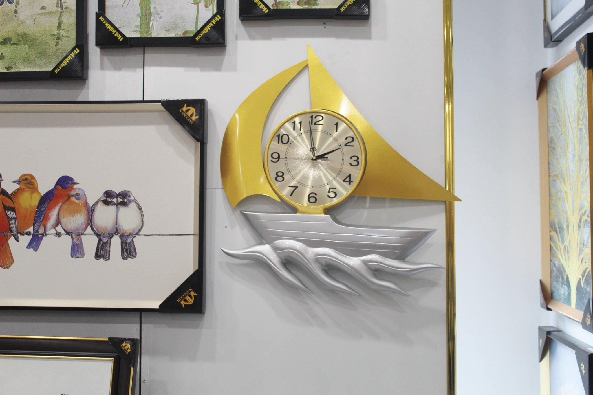 Đồng hồ decor thuyền buồm - silver
