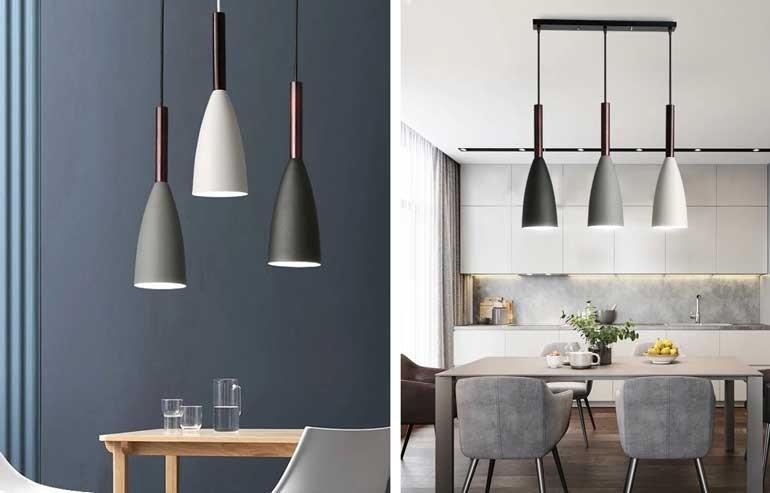 Đèn thả trang trí phòng khách nhà cấp 4 phong cách hiện đại