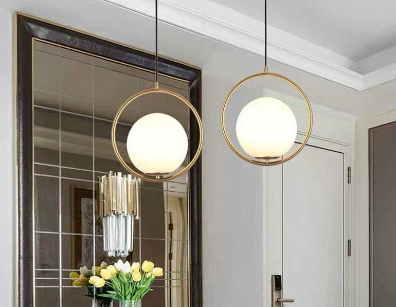 Đèn thả trang trí phòng khách nhà cấp 4 hiện đại