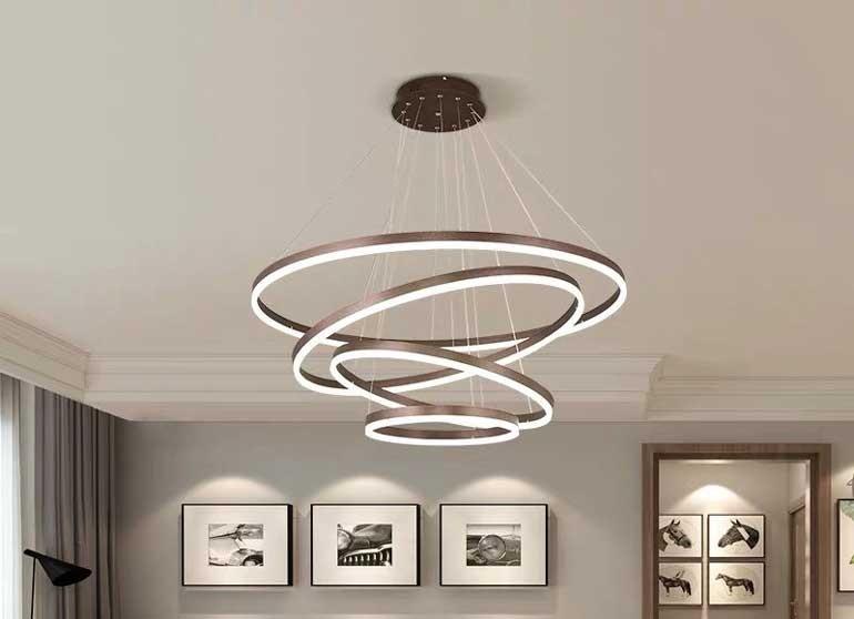Đèn trang trí phòng khách nhà chung cư đơn giản
