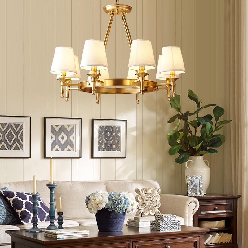 Đèn chùm đồng cổ điển dạng nến trang trí phòng khách