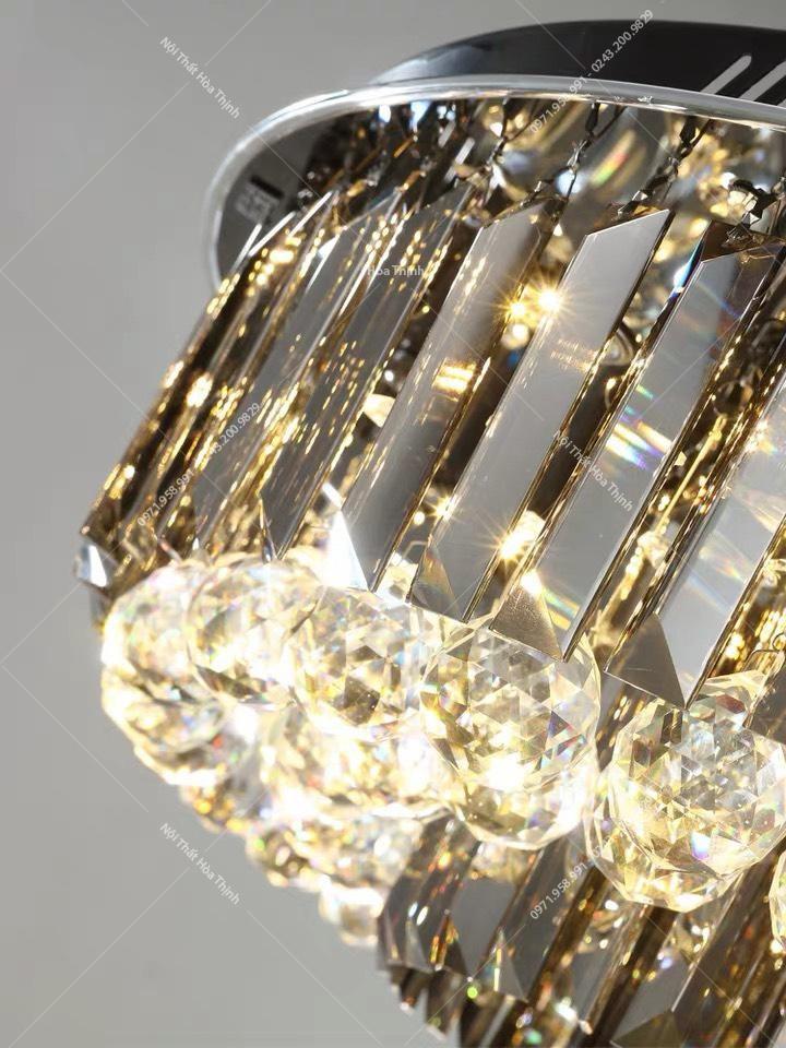 Đèn mâm LED tròn pha lê HTM-17 D80