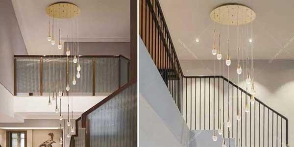 Đèn trang trí cầu thang thả thông tầng - Đèn trang trí thả thông tầng