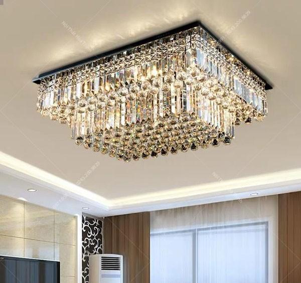 Đèn mâm pha lê trang trí phòng ngủ - Đèn mâm LED pha lê mạ vàng giá rẻ