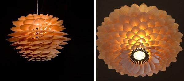 Đèn treo trần hoa bách nhật - Đèn gỗ thả trần