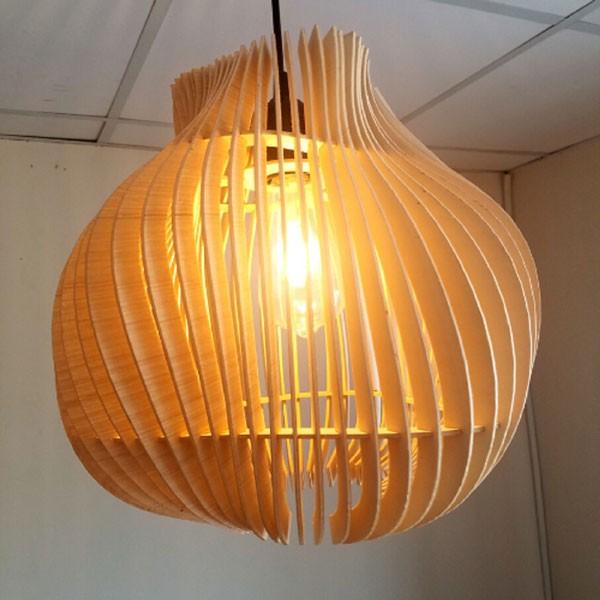 đèn gỗ treo trần - đèn gỗ thả trần sóng nước