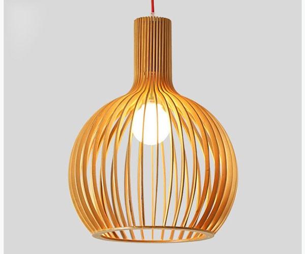 Đèn trang trí trần gỗ củ tỏi giá rẻ- Đèn gỗ thả trần