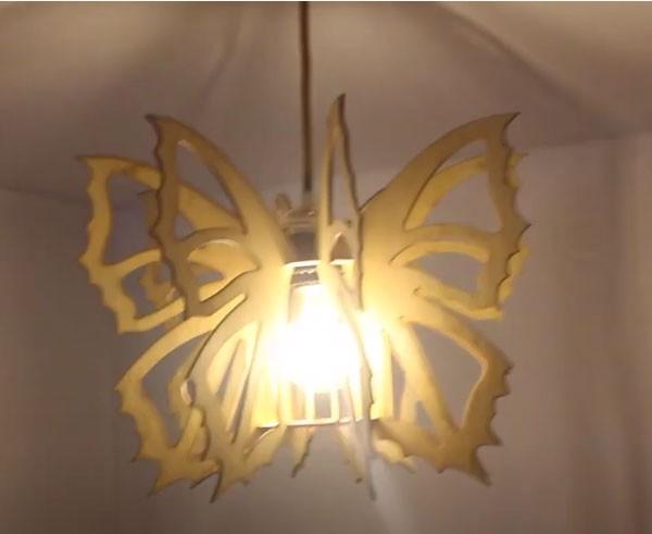 Đèn thả trần gỗ cánh bướm - Đèn gỗ thả trần