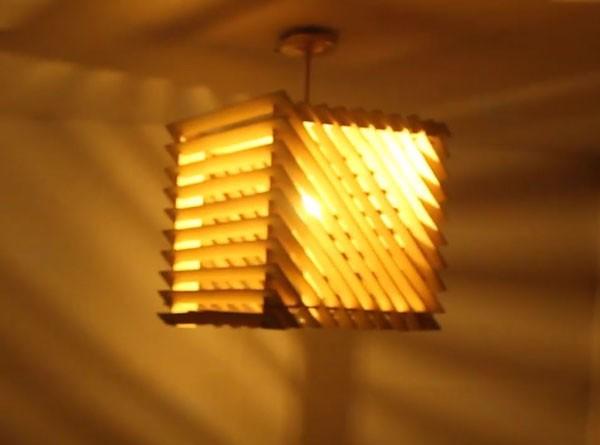Hình ảnh đèn thả trần bằng gỗ xoay - Đèn gỗ thả trần