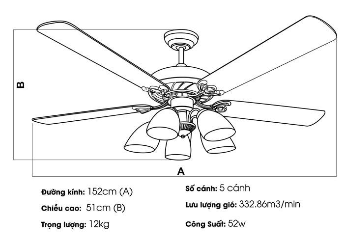 Quạt trần Nhật Bản TOKY-5025