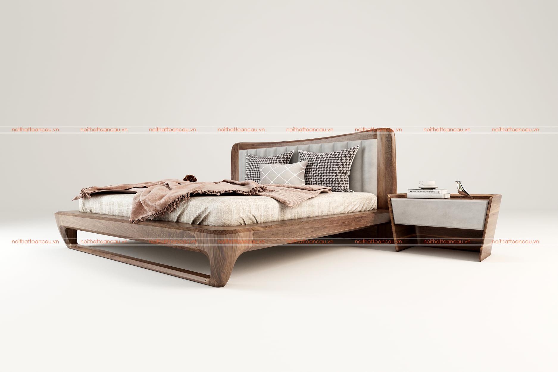 Giường ngủ gỗ óc chó tự nhiên 159 b