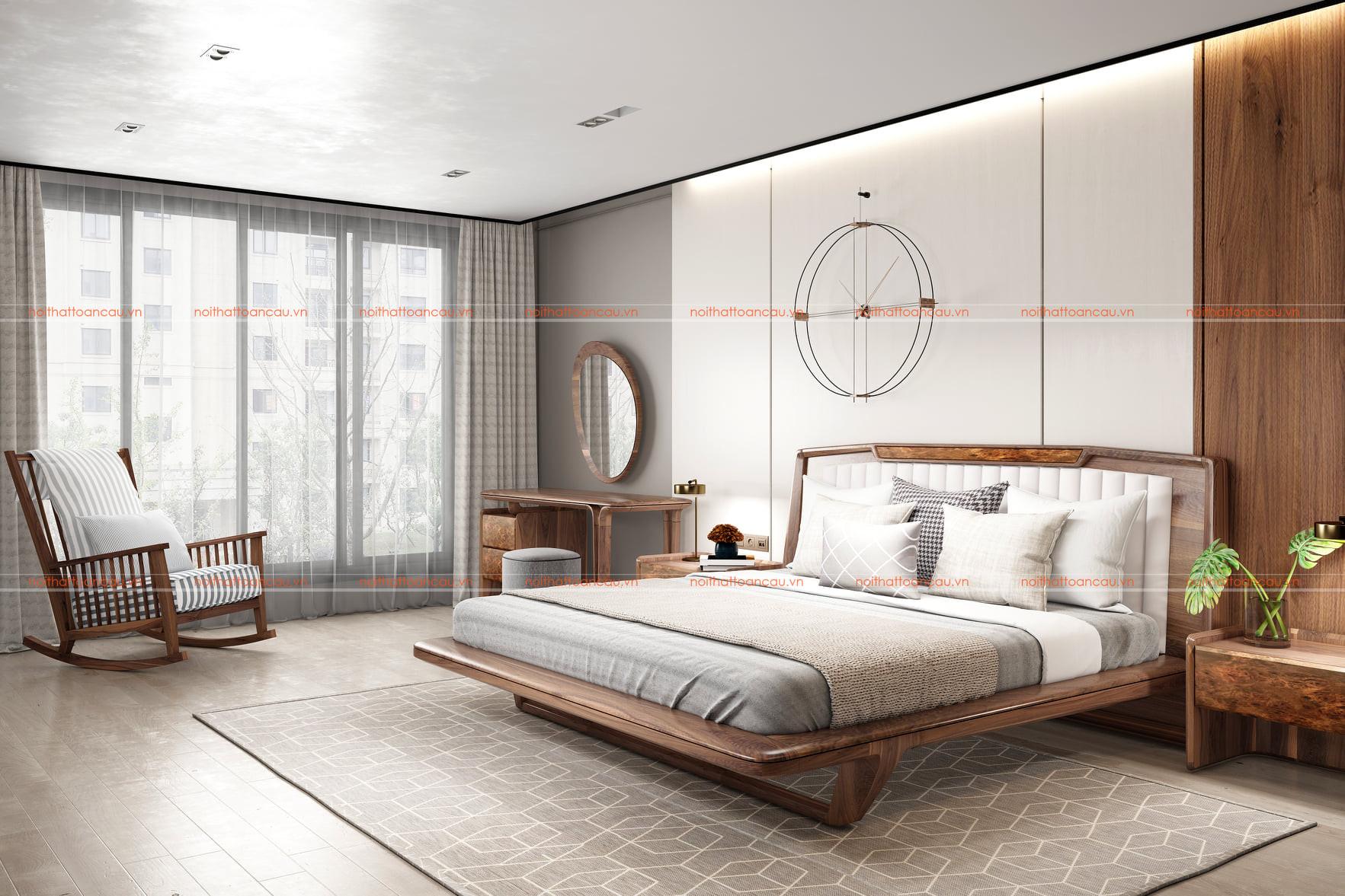 Thiết kế nội thất phòng ngủ bằng gỗ óc chó tự nhiên 2