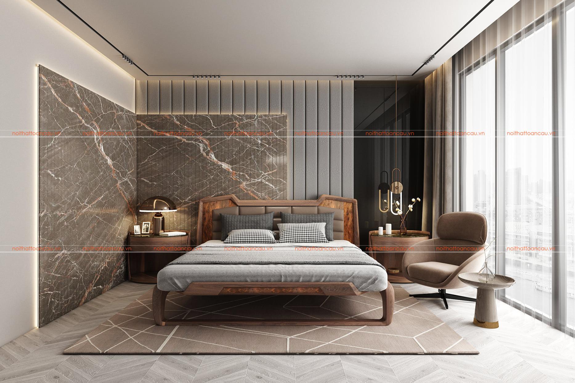Mẫu thiết kế phòng ngủ gỗ óc chó 4c