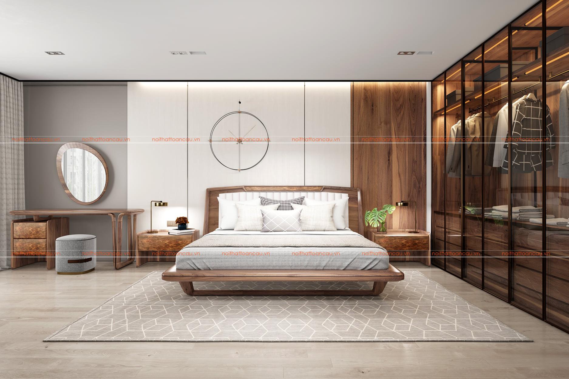 Thiết kế nội thất phòng ngủ bằng gỗ óc chó tự nhiên