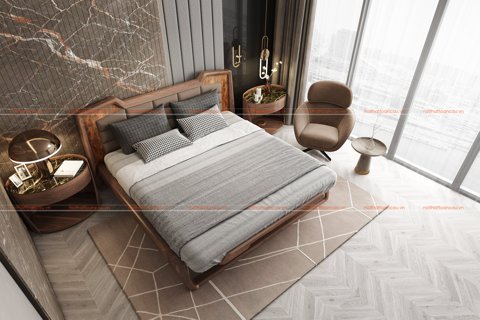 Mẫu thiết kế phòng ngủ gỗ óc chó 4