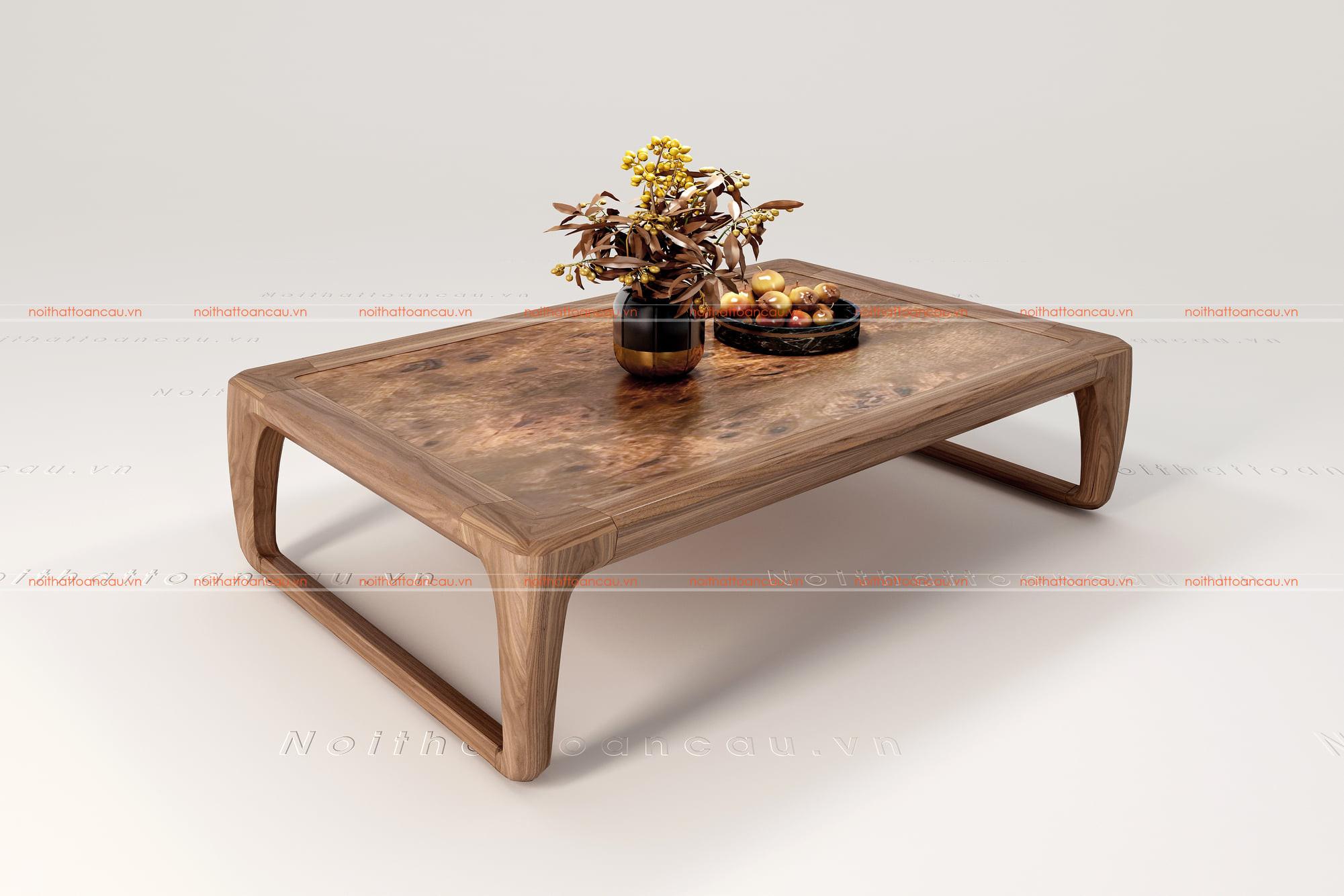 bàn trà gỗ óc chó đồng gia