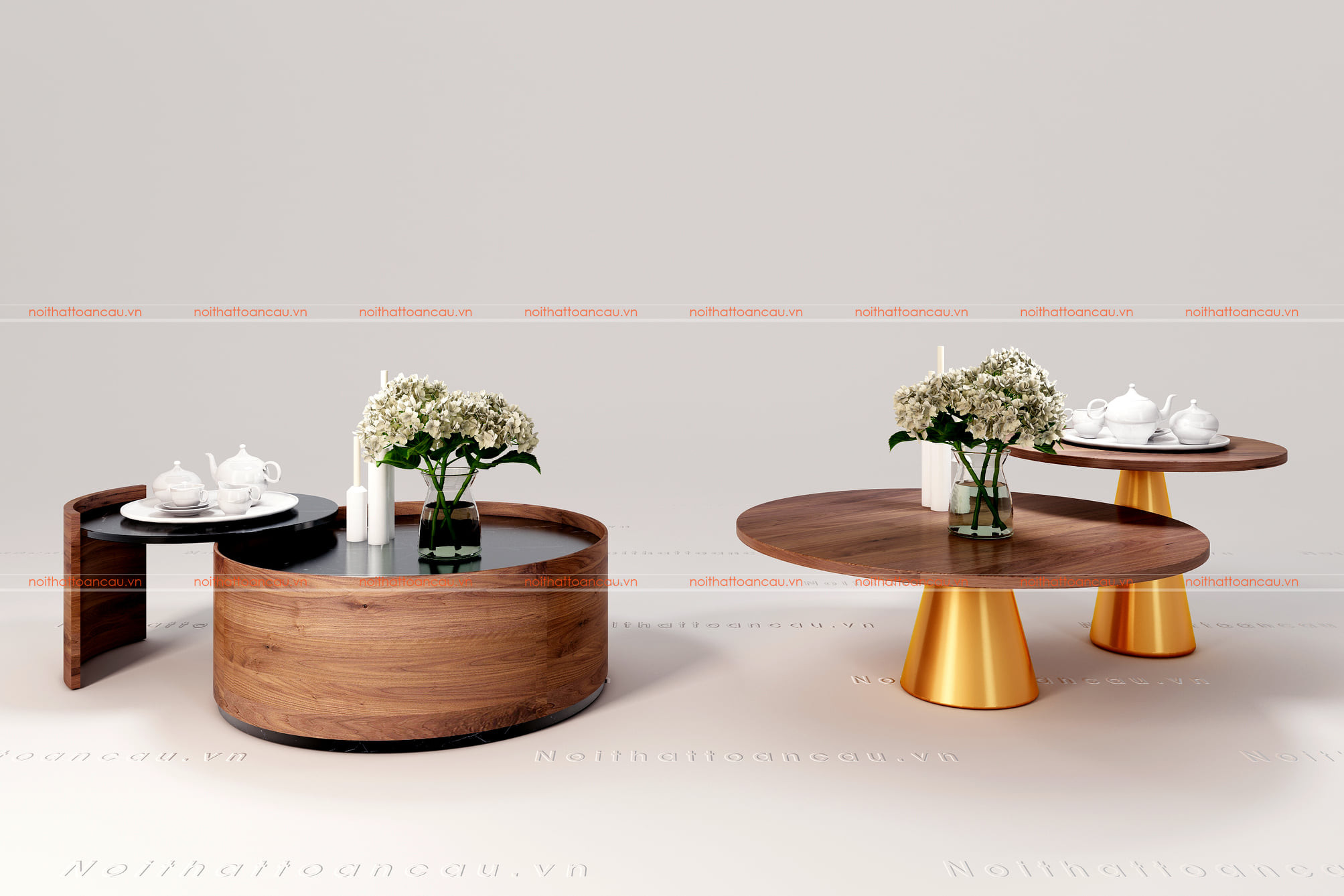 Bộ bàn trà gỗ óc chó kết hợp